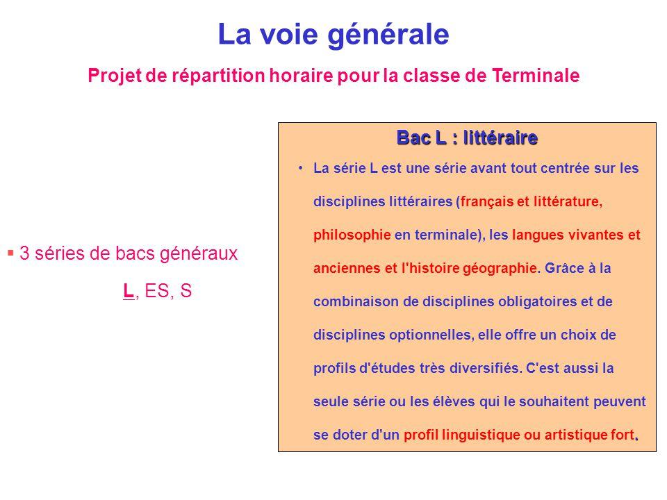  3 séries de bacs généraux L, ES, S La voie générale Bac L : littéraire.La série L est une série avant tout centrée sur les disciplines littéraires (
