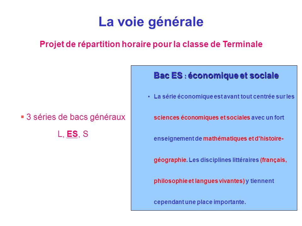  3 séries de bacs généraux L, ES, S Bac ES : économique et sociale La série économique est avant tout centrée sur les sciences économiques et sociale