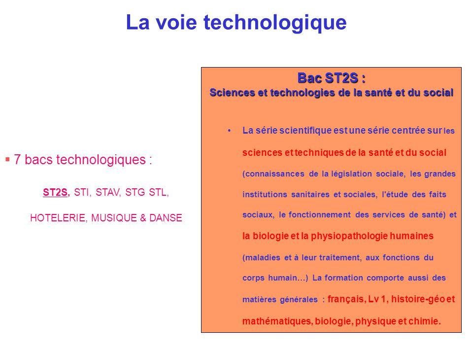 La voie technologique  7 bacs technologiques : ST2S, STI, STAV, STG STL, HOTELERIE, MUSIQUE & DANSE Bac ST2S : Sciences et technologies de la santé e