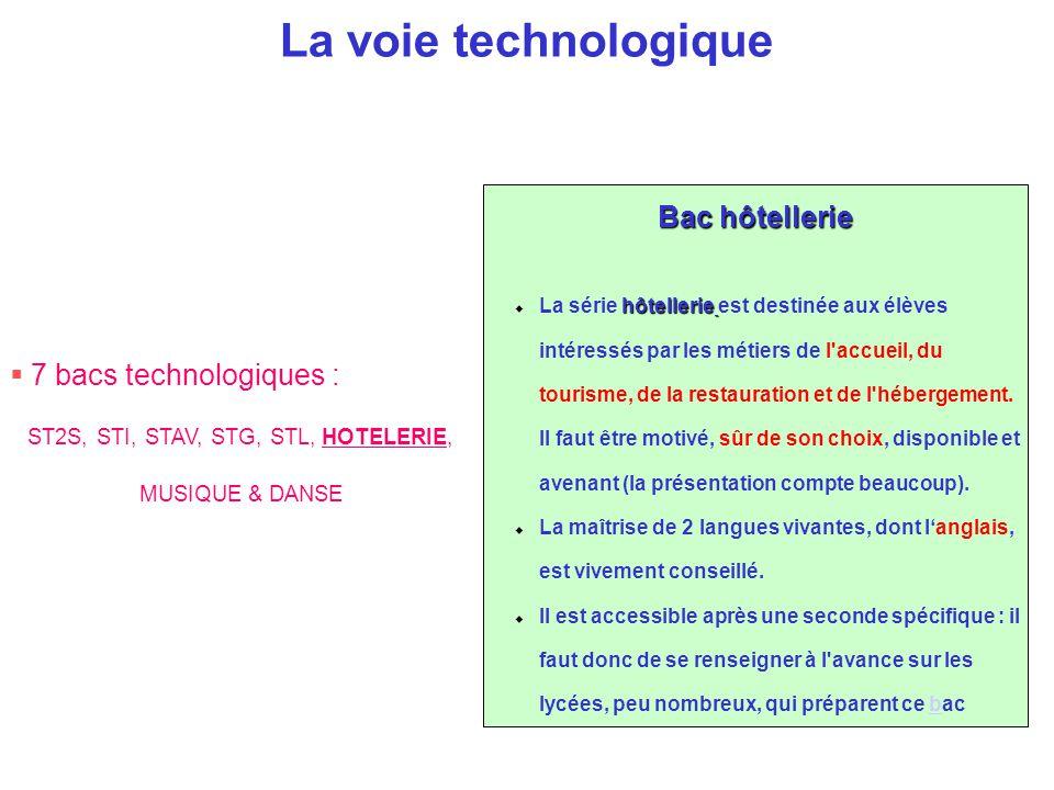 La voie technologique Bac hôtellerie hôtellerie  La série hôtellerie est destinée aux élèves intéressés par les métiers de l'accueil, du tourisme, de