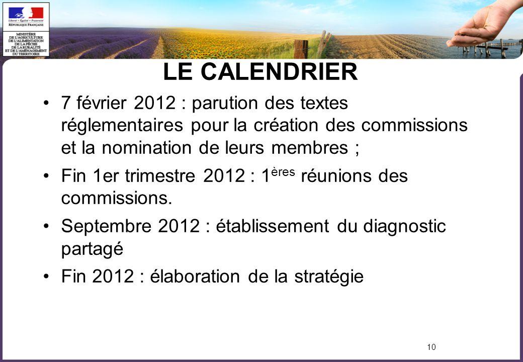 10 LE CALENDRIER 7 février 2012 : parution des textes réglementaires pour la création des commissions et la nomination de leurs membres ; Fin 1er trimestre 2012 : 1 ères réunions des commissions.