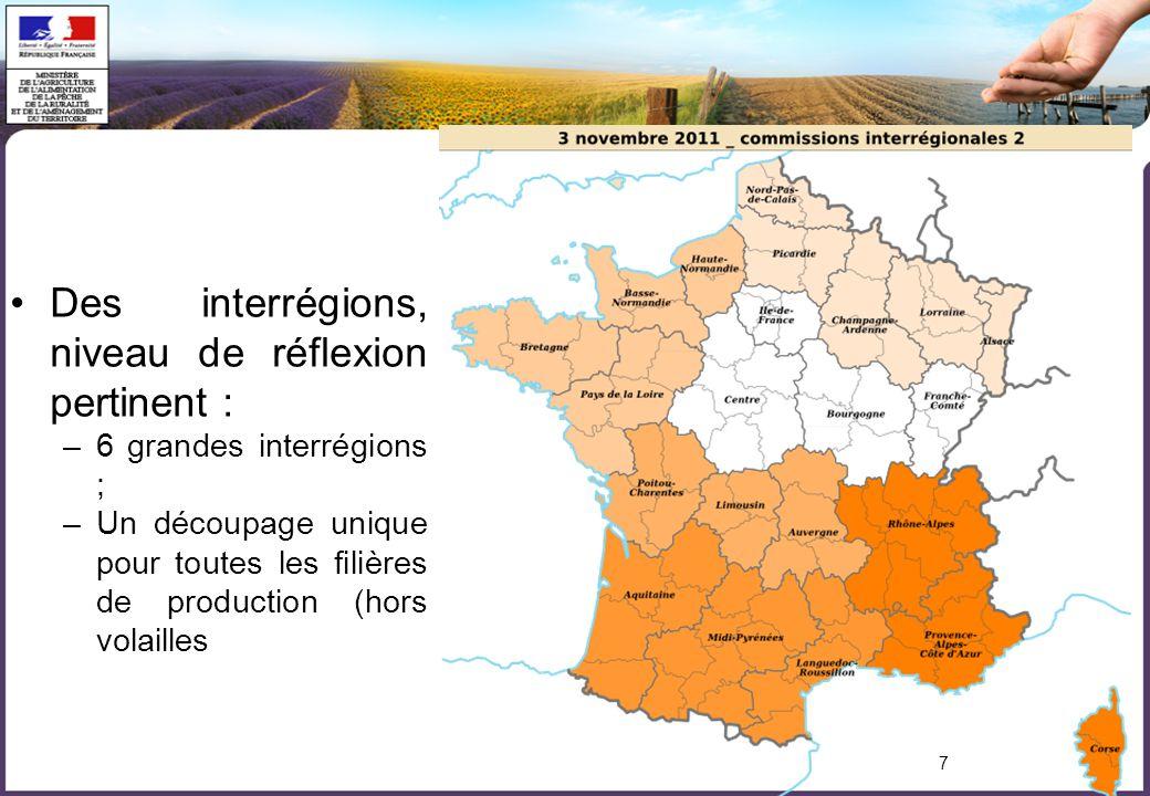 7 Des interrégions, niveau de réflexion pertinent : –6 grandes interrégions ; –Un découpage unique pour toutes les filières de production (hors volailles
