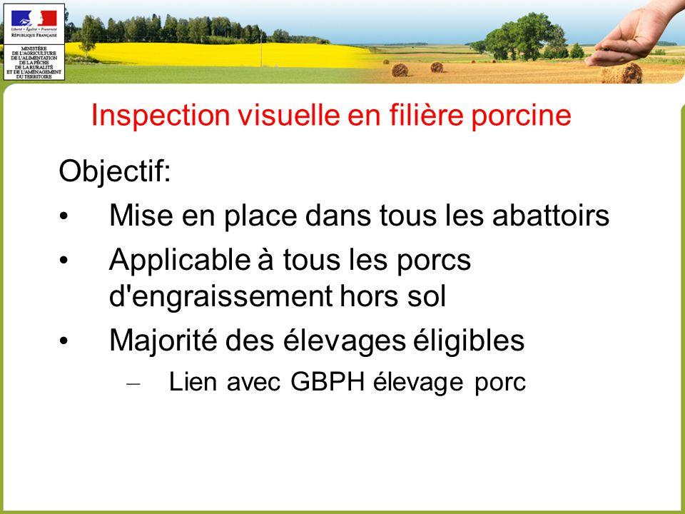 Inspection visuelle en filière porcine Objectif: Mise en place dans tous les abattoirs Applicable à tous les porcs d engraissement hors sol Majorité des élevages éligibles – Lien avec GBPH élevage porc