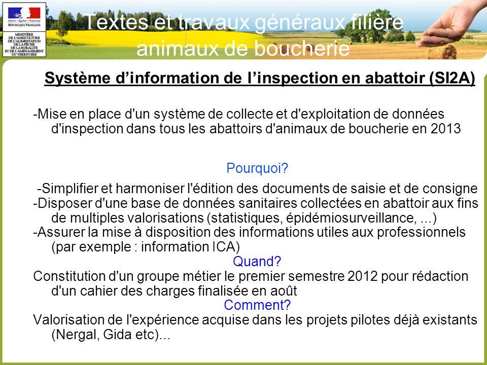 Système d'information de l'inspection en abattoir (SI2A) -Mise en place d un système de collecte et d exploitation de données d inspection dans tous les abattoirs d animaux de boucherie en 2013 Pourquoi.