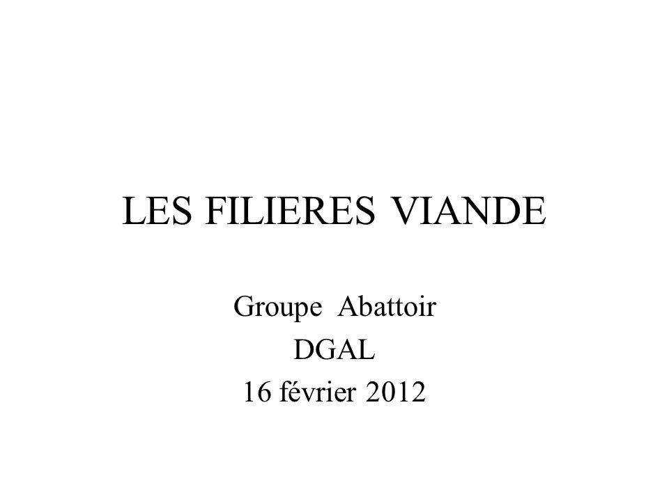 LES FILIERES VIANDE Groupe Abattoir DGAL 16 février 2012