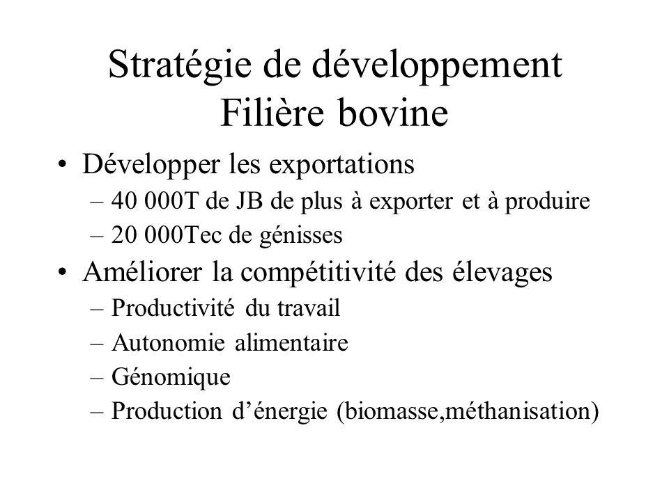 Stratégie de développement Filière bovine Développer les exportations –40 000T de JB de plus à exporter et à produire –20 000Tec de génisses Améliorer la compétitivité des élevages –Productivité du travail –Autonomie alimentaire –Génomique –Production d'énergie (biomasse,méthanisation)