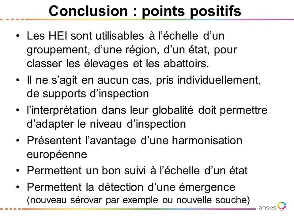 Conclusion : points positifs Les HEI sont utilisables à l'échelle d'un groupement, d'une région, d'un état, pour classer les élevages et les abattoirs.