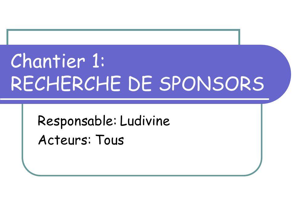 Chantier 1: RECHERCHE DE SPONSORS Responsable: Ludivine Acteurs: Tous