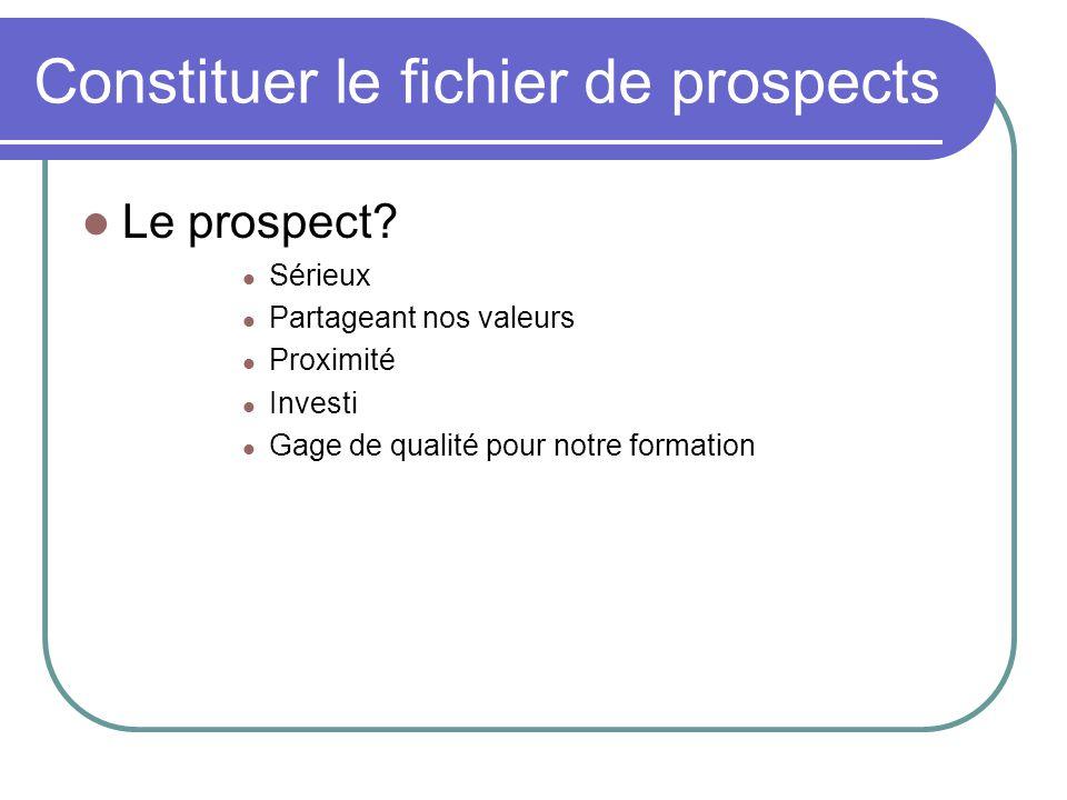 Constituer le fichier de prospects Le prospect.