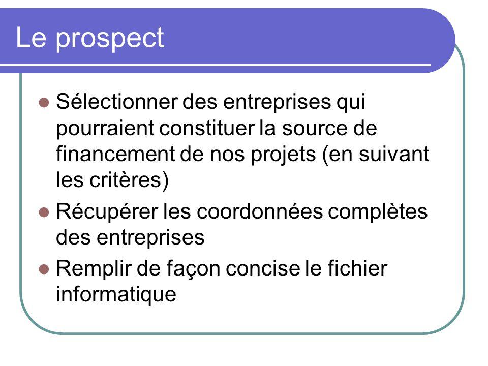 Le prospect Sélectionner des entreprises qui pourraient constituer la source de financement de nos projets (en suivant les critères) Récupérer les coordonnées complètes des entreprises Remplir de façon concise le fichier informatique
