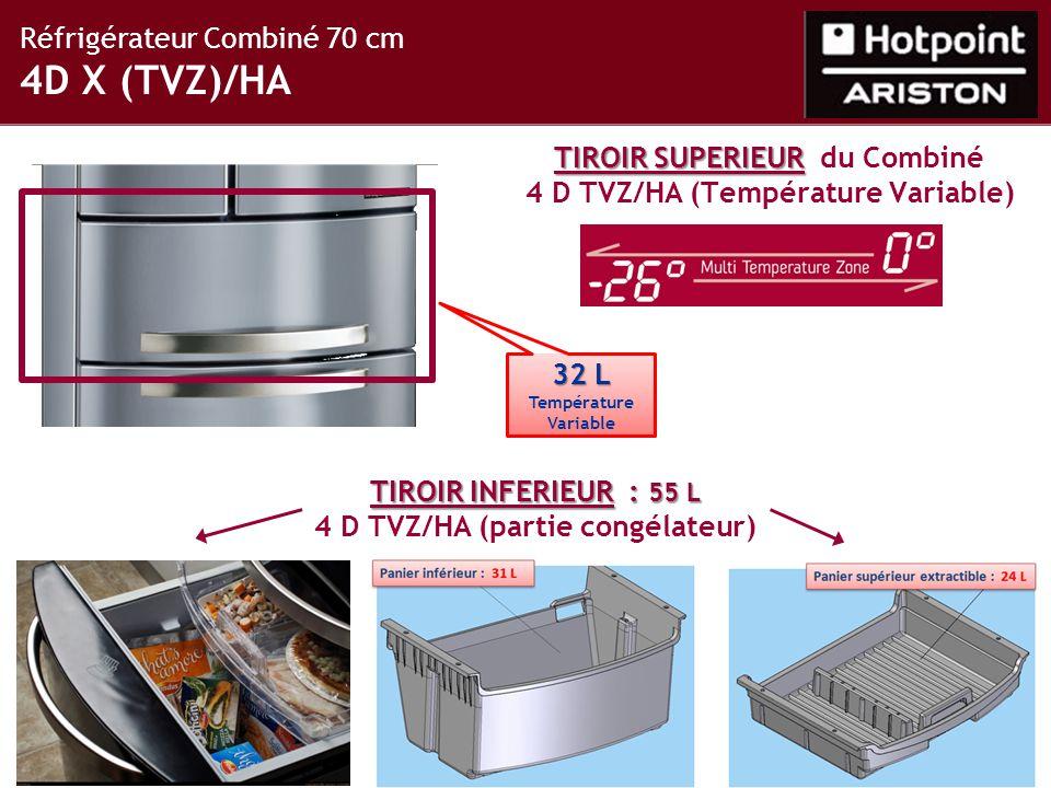 Réfrigérateur Combiné 70 cm 4D X (TVZ)/HA TIROIR INFERIEUR : 55 L TIROIR INFERIEUR : 55 L 4 D TVZ/HA (partie congélateur) TIROIR SUPERIEUR TIROIR SUPERIEUR du Combiné 4 D TVZ/HA (Température Variable) 32 L Température Variable