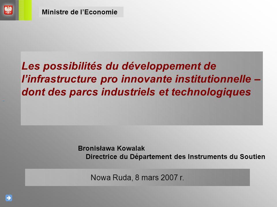 Plan de la présentation L'importance de l'infrastructure institutionnelle pour le développement de l'économie Les ressemblances et les différences – les zones économiques spéciales, les parcs industriels et technologiques, les incubateurs de la technologie, les clusters Les programmes de soutien dans les années 2007- 2013 Ministre de l'Economie
