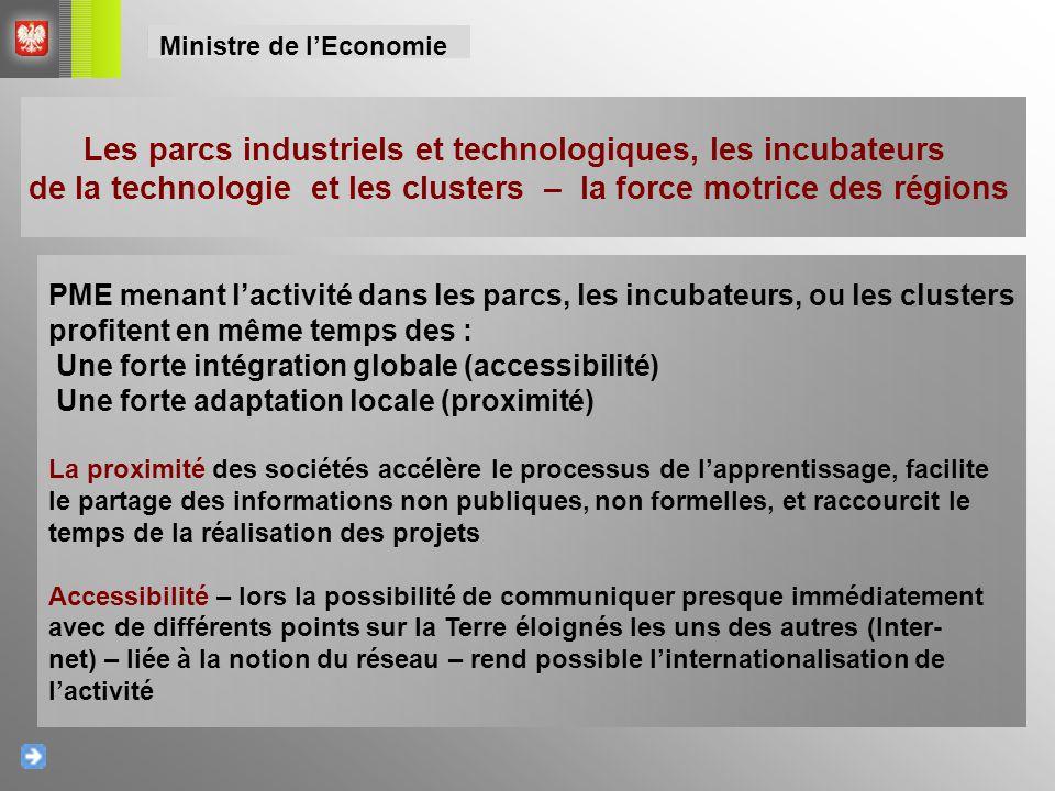 Les parcs industriels et technologiques, les incubateurs de la technologie et les clusters – la force motrice des régions PME menant l'activité dans l
