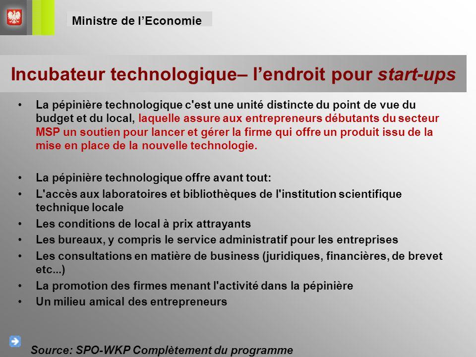 La pépinière technologique c'est une unité distincte du point de vue du budget et du local, laquelle assure aux entrepreneurs débutants du secteur MSP