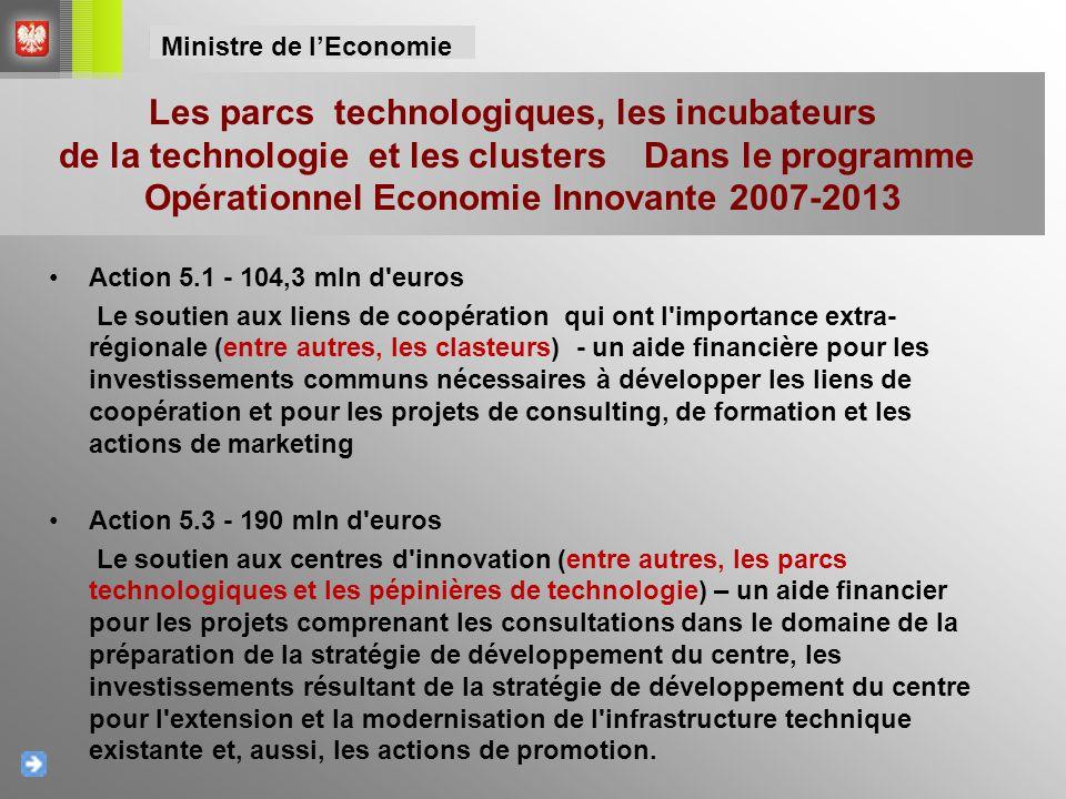 Action 5.1 - 104,3 mln d'euros Le soutien aux liens de coopération qui ont l'importance extra- régionale (entre autres, les clasteurs) - un aide finan