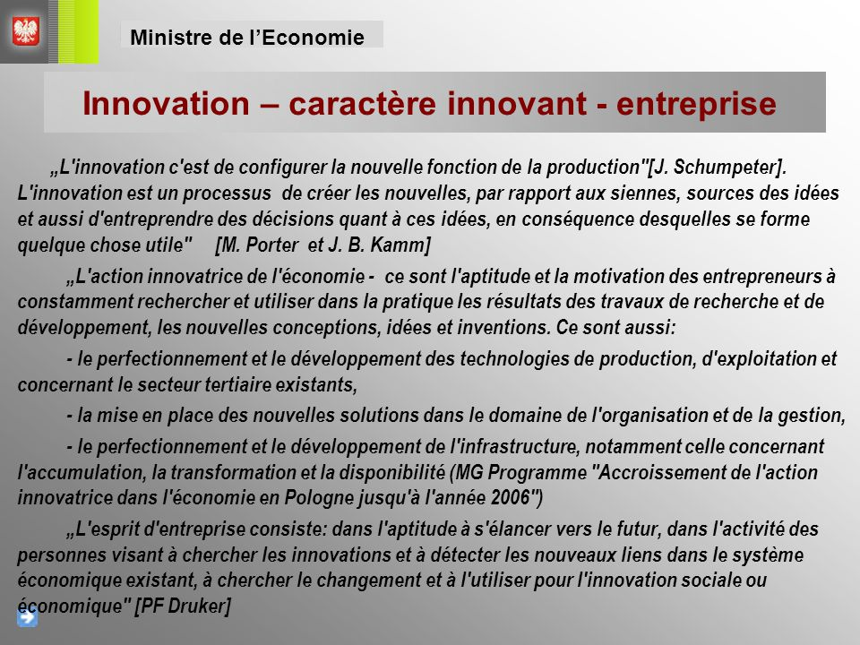 """L'innovation c'est de configurer la nouvelle fonction de la production"