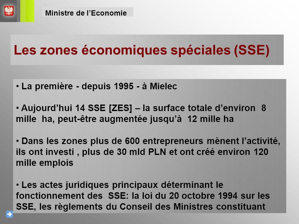 Les zones économiques spéciales (SSE) La première - depuis 1995 - à Mielec Aujourd'hui 14 SSE [ZES] – la surface totale d'environ 8 mille ha, peut-êtr