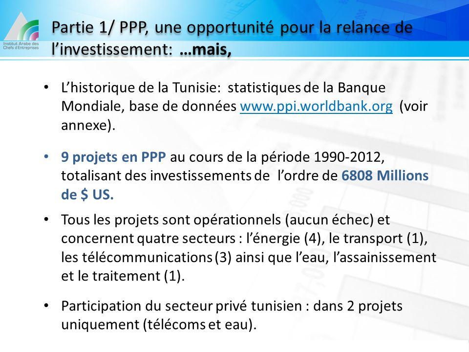 L'historique de la Tunisie: statistiques de la Banque Mondiale, base de données www.ppi.worldbank.org (voir annexe). 9 projets en PPP au cours de la p