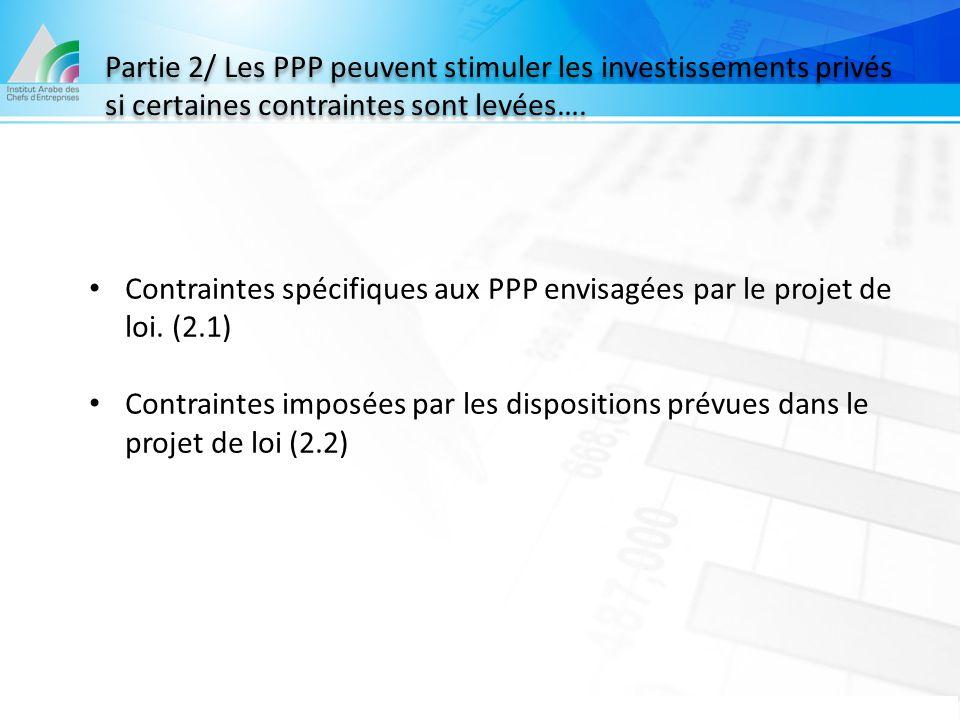 Partie 2/ Les PPP peuvent stimuler les investissements privés si certaines contraintes sont levées…. Contraintes spécifiques aux PPP envisagées par le