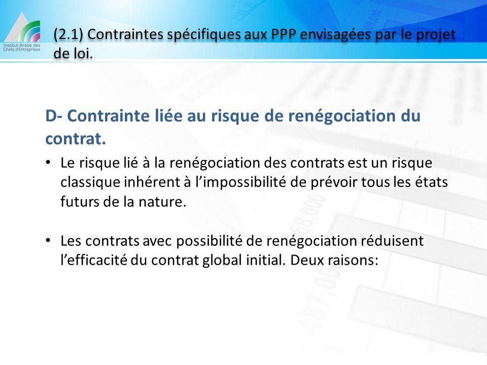 (2.1) Contraintes spécifiques aux PPP envisagées par le projet de loi. D- Contrainte liée au risque de renégociation du contrat. Le risque lié à la re