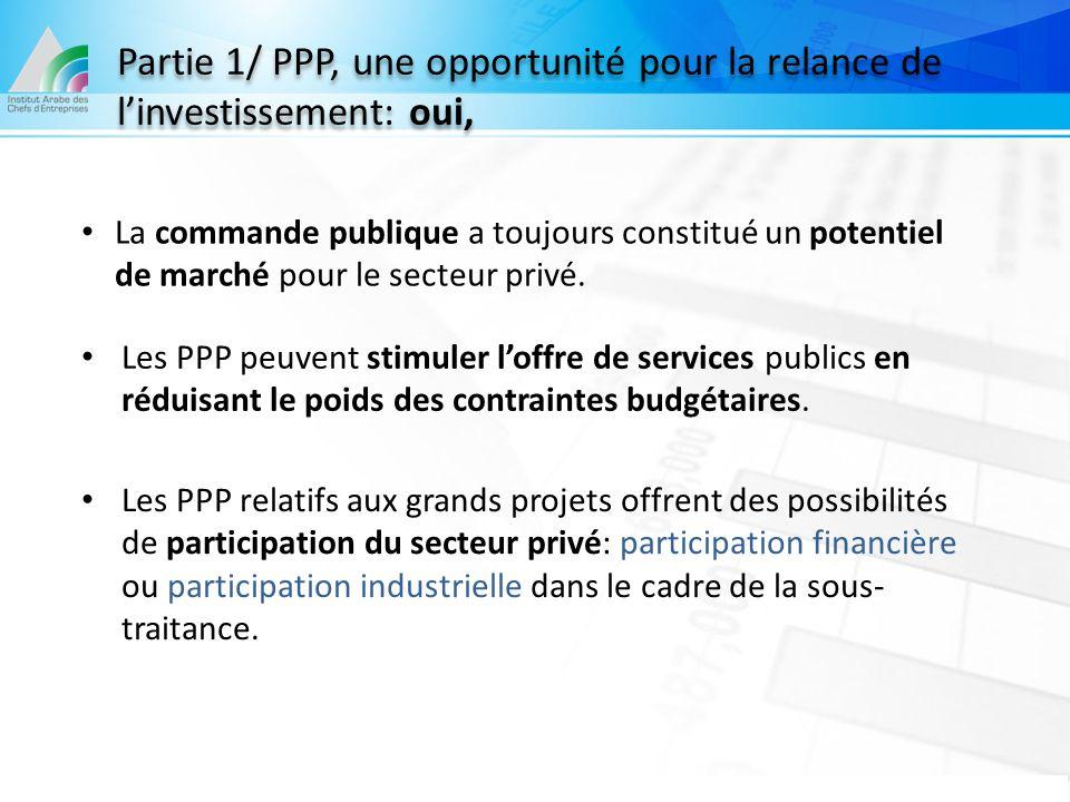 Partie 1/ PPP, une opportunité pour la relance de l'investissement: oui, La commande publique a toujours constitué un potentiel de marché pour le sect