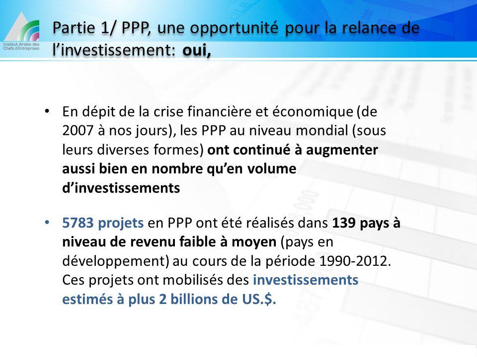 En dépit de la crise financière et économique (de 2007 à nos jours), les PPP au niveau mondial (sous leurs diverses formes) ont continué à augmenter a