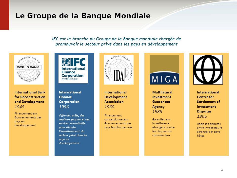 Le Groupe de la Banque Mondiale IFC est la branche du Groupe de la Banque mondiale chargée de promouvoir le secteur privé dans les pays en développeme
