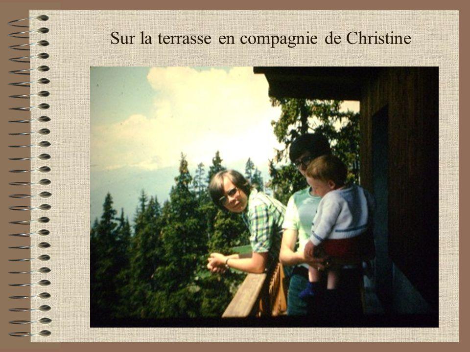 Sur la terrasse en compagnie de Christine En vacances à la Rosière de Montvalezan