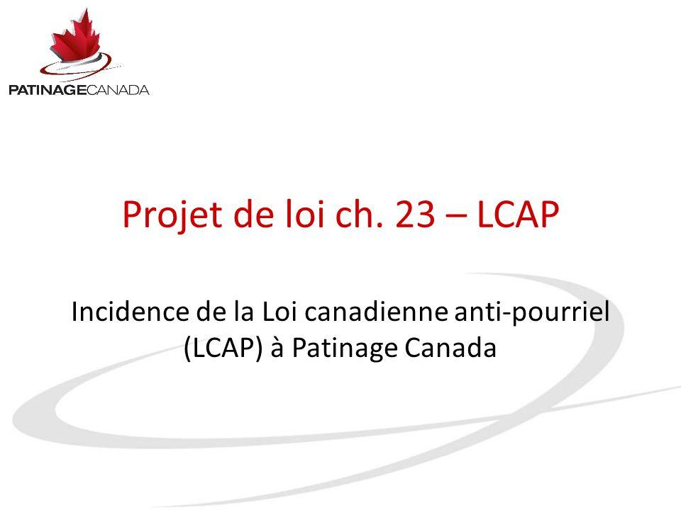 Projet de loi ch. 23 – LCAP Incidence de la Loi canadienne anti-pourriel (LCAP) à Patinage Canada