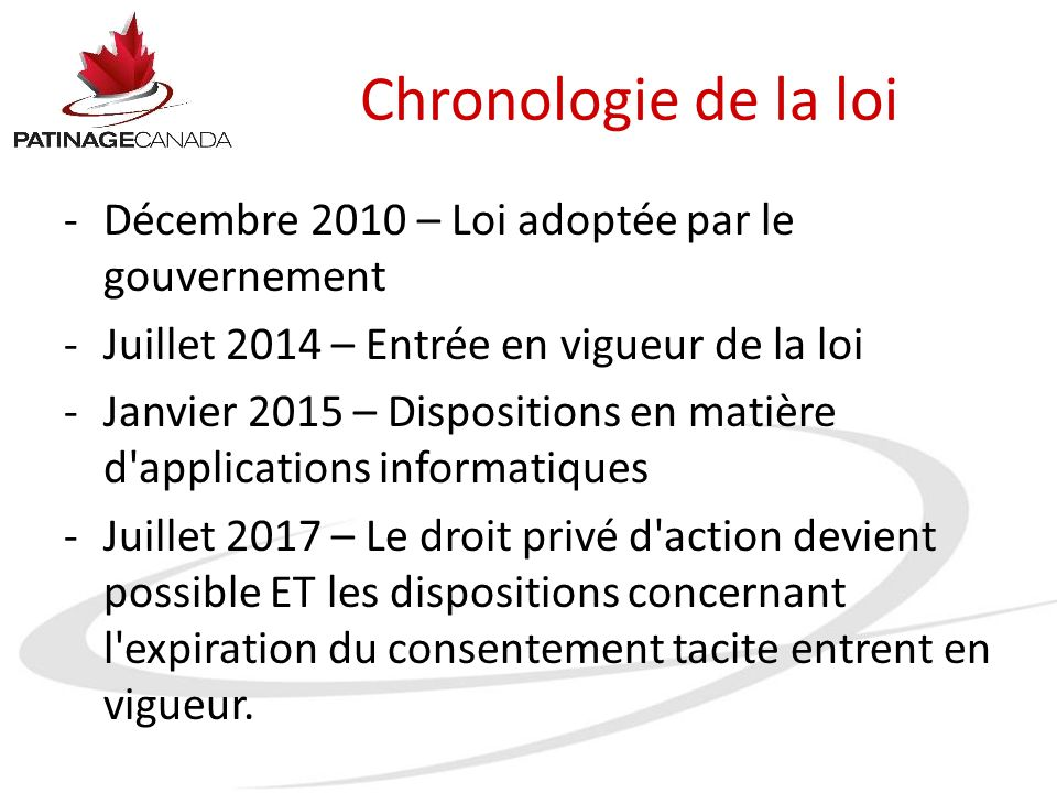 Chronologie de la loi -Décembre 2010 – Loi adoptée par le gouvernement -Juillet 2014 – Entrée en vigueur de la loi -Janvier 2015 – Dispositions en mat