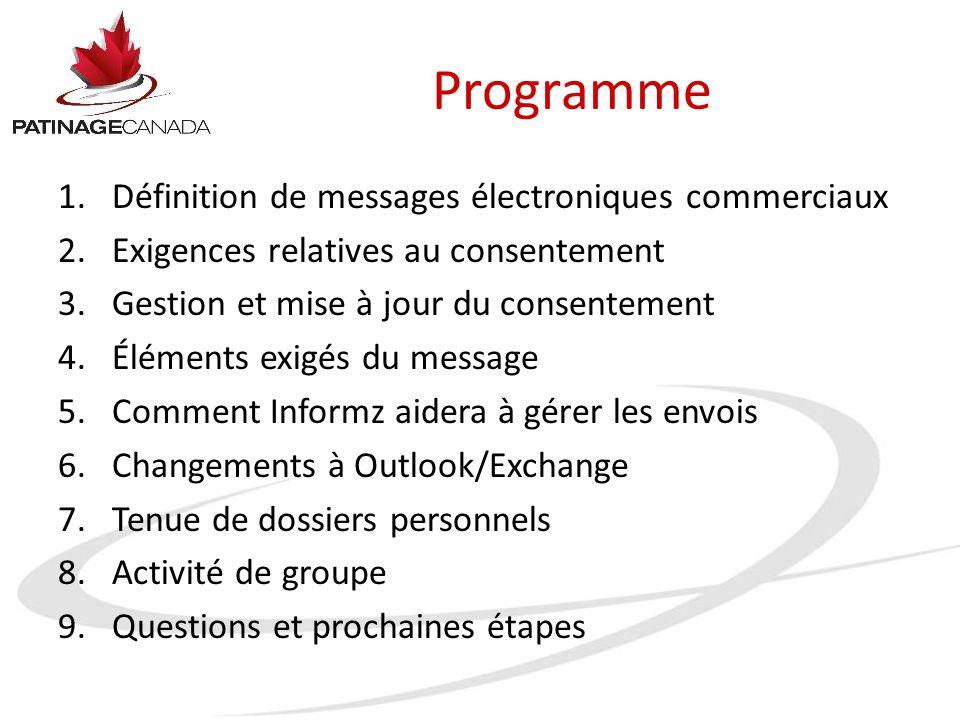 Programme 1.Définition de messages électroniques commerciaux 2.Exigences relatives au consentement 3.Gestion et mise à jour du consentement 4.Éléments