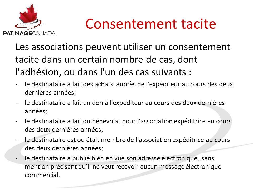 Consentement tacite Les associations peuvent utiliser un consentement tacite dans un certain nombre de cas, dont l'adhésion, ou dans l'un des cas suiv