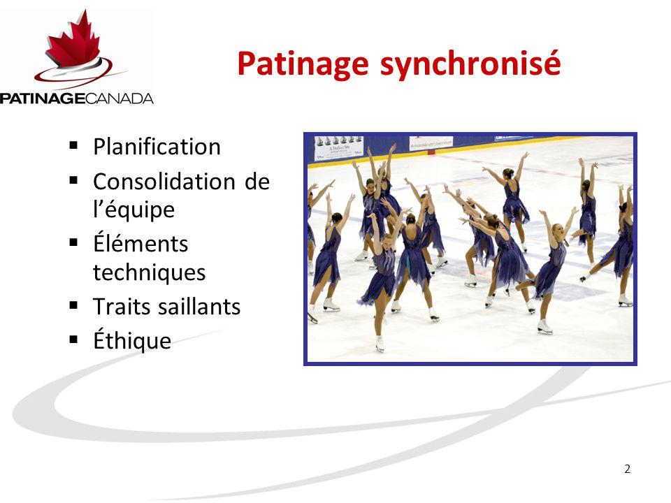 2 Patinage synchronisé  Planification  Consolidation de l'équipe  Éléments techniques  Traits saillants  Éthique