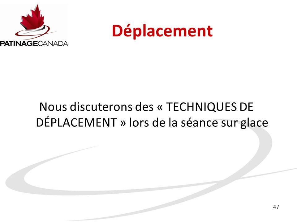 47 Déplacement Nous discuterons des « TECHNIQUES DE DÉPLACEMENT » lors de la séance sur glace