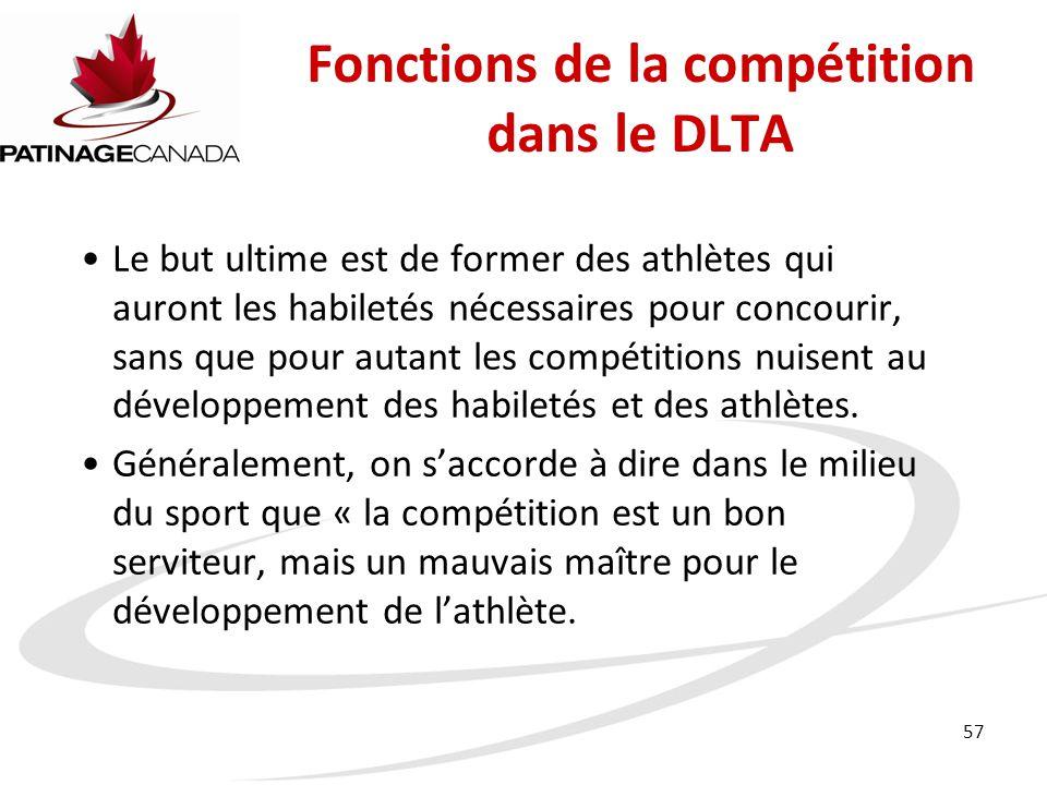 57 Le but ultime est de former des athlètes qui auront les habiletés nécessaires pour concourir, sans que pour autant les compétitions nuisent au développement des habiletés et des athlètes.