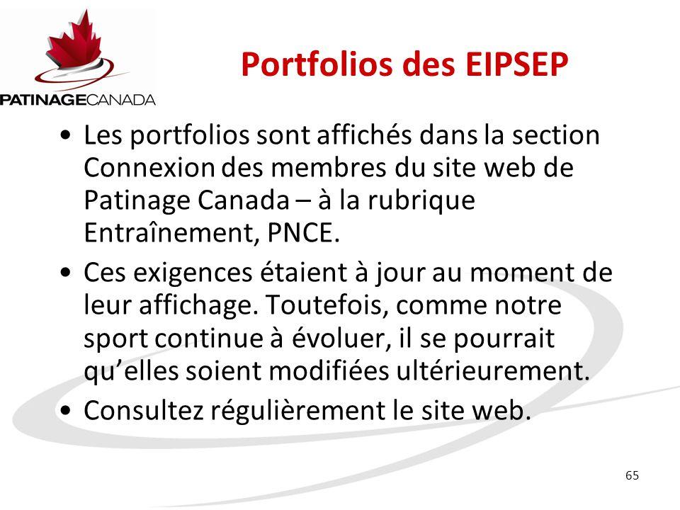 65 Portfolios des EIPSEP Les portfolios sont affichés dans la section Connexion des membres du site web de Patinage Canada – à la rubrique Entraînement, PNCE.