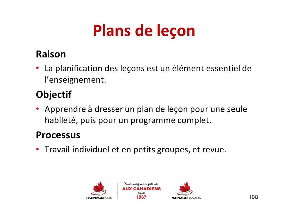 Raison La planification des leçons est un élément essentiel de l'enseignement. Objectif Apprendre à dresser un plan de leçon pour une seule habileté,