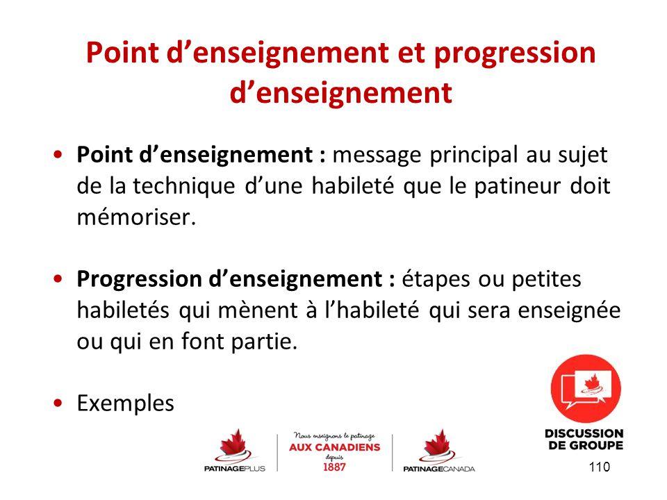 Point d'enseignement : message principal au sujet de la technique d'une habileté que le patineur doit mémoriser. Progression d'enseignement : étapes o