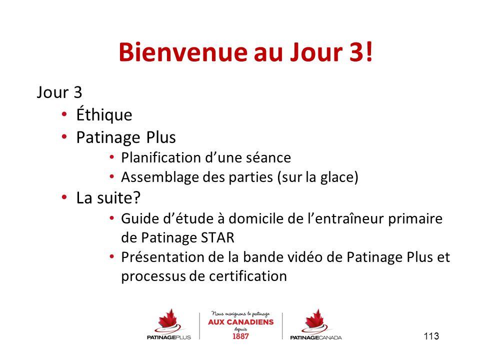 Jour 3 Éthique Patinage Plus Planification d'une séance Assemblage des parties (sur la glace) La suite? Guide d'étude à domicile de l'entraîneur prima