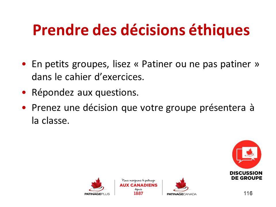 En petits groupes, lisez « Patiner ou ne pas patiner » dans le cahier d'exercices. Répondez aux questions. Prenez une décision que votre groupe présen