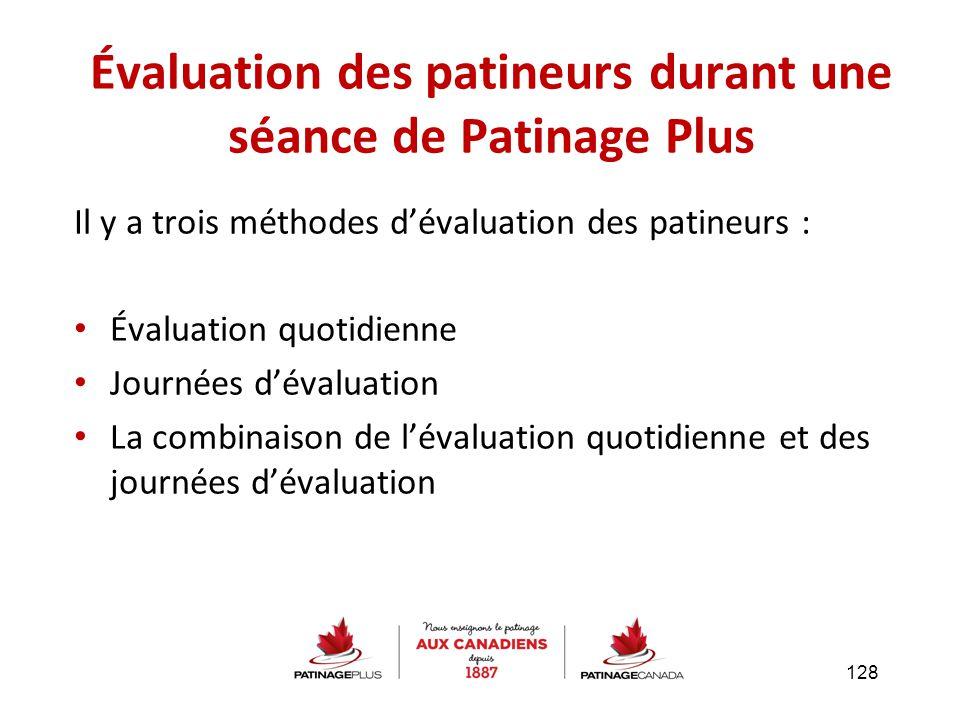 Il y a trois méthodes d'évaluation des patineurs : Évaluation quotidienne Journées d'évaluation La combinaison de l'évaluation quotidienne et des jour