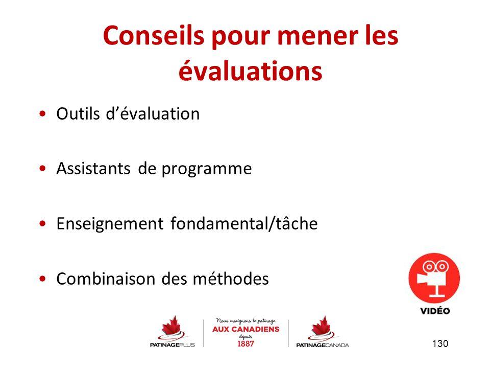 Outils d'évaluation Assistants de programme Enseignement fondamental/tâche Combinaison des méthodes Conseils pour mener les évaluations 130