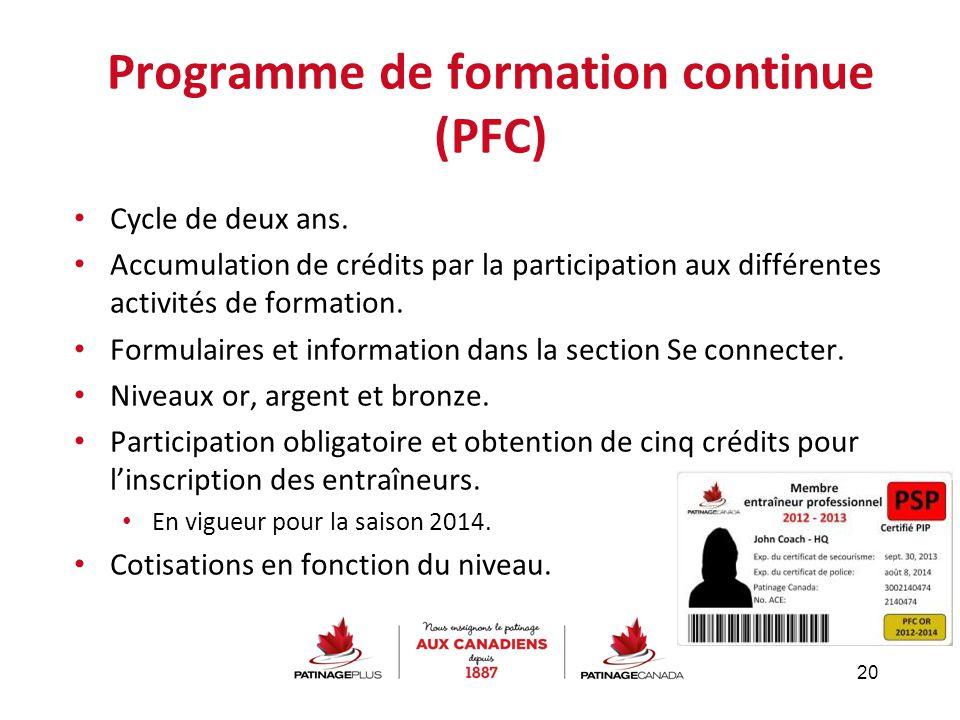 Programme de formation continue (PFC) Cycle de deux ans. Accumulation de crédits par la participation aux différentes activités de formation. Formulai