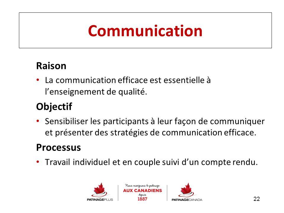 Communication Raison La communication efficace est essentielle à l'enseignement de qualité. Objectif Sensibiliser les participants à leur façon de com