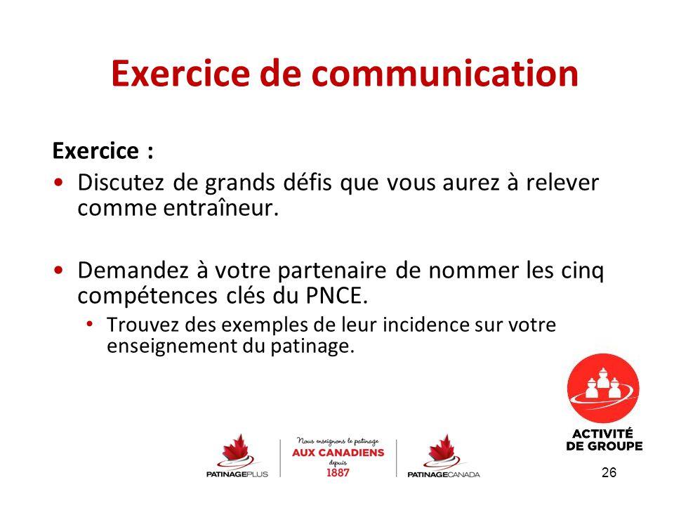 Exercice de communication Exercice : Discutez de grands défis que vous aurez à relever comme entraîneur. Demandez à votre partenaire de nommer les cin