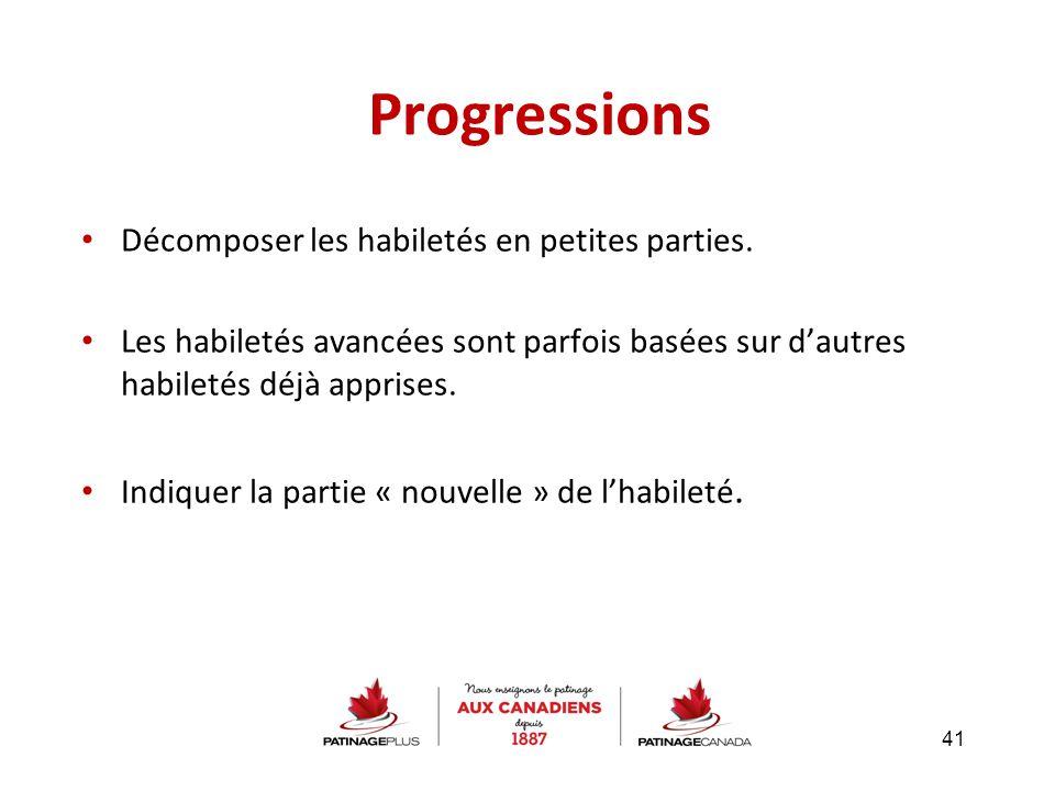 Progressions Décomposer les habiletés en petites parties. Les habiletés avancées sont parfois basées sur d'autres habiletés déjà apprises. Indiquer la