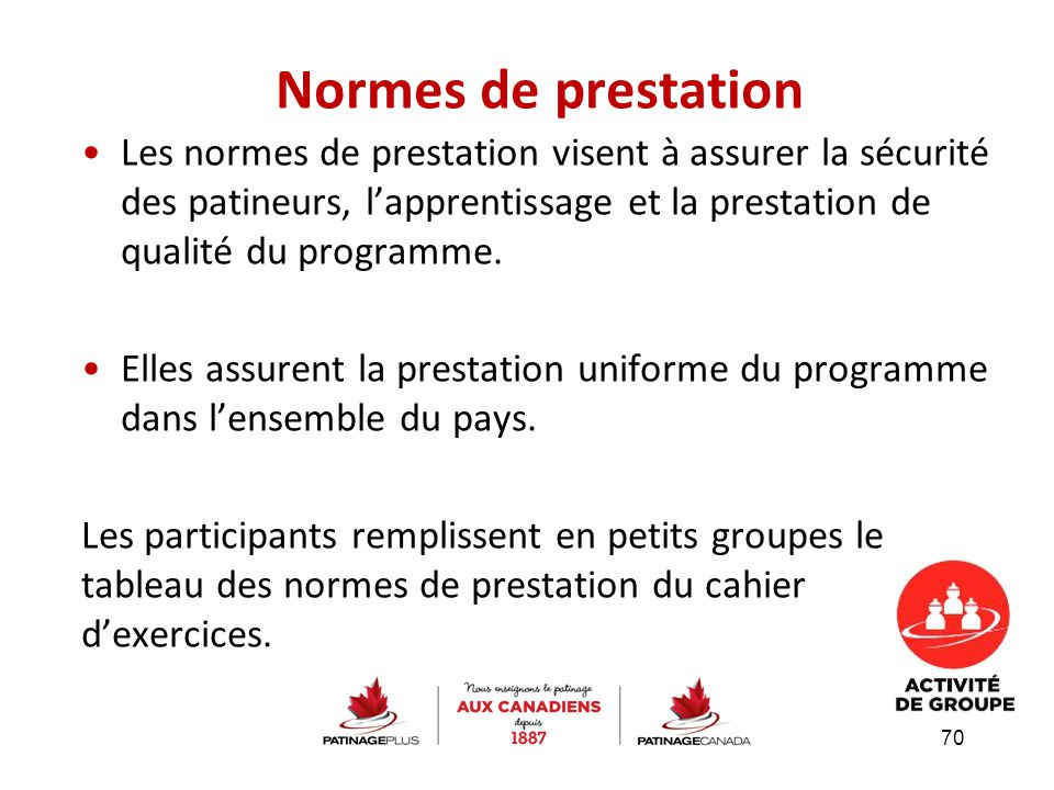 Normes de prestation Les normes de prestation visent à assurer la sécurité des patineurs, l'apprentissage et la prestation de qualité du programme. El