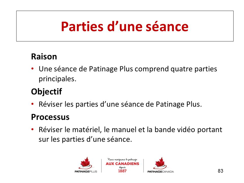 Raison Une séance de Patinage Plus comprend quatre parties principales. Objectif Réviser les parties d'une séance de Patinage Plus. Processus Réviser