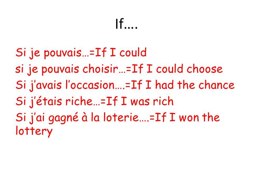 If…. Si je pouvais…=If I could si je pouvais choisir…=If I could choose Si j'avais l'occasion….=If I had the chance Si j'étais riche…=If I was rich Si