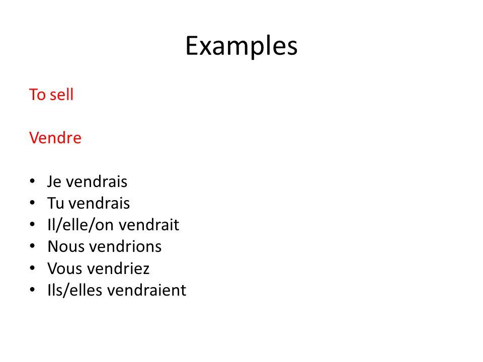 Examples To sell Vendre Je vendrais Tu vendrais Il/elle/on vendrait Nous vendrions Vous vendriez Ils/elles vendraient